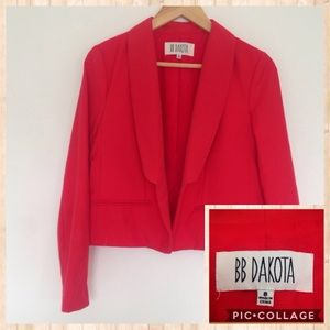 BB Dakota Red Open Front Blazer Jacket Sz 8